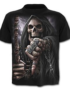 baratos -Homens Tamanhos Grandes Camiseta - Esportes Caveira / Activo Estampado, Geométrica / Caveiras Algodão Decote Redondo Delgado / Manga Curta