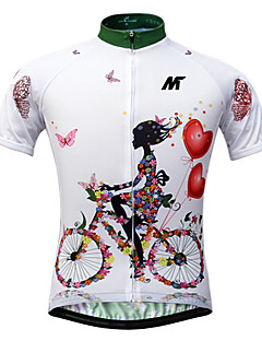 cheap Cycling Jerseys-Mysenlan Women's Short Sleeve Cycling Jersey - White Classic / Slim / Floral / Botanical Bike Jersey / Top, Quick Dry, Ultraviolet