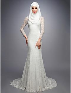 billiga Brudklänningar-Trumpet / sjöjungfru Hög hals Hovsläp Spets Bröllopsklänningar tillverkade med av LAN TING BRIDE®