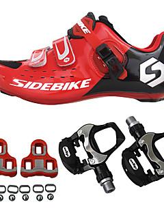 billiga Cykling-SIDEBIKE Vuxna Cykelskor med pedaler och klossar / Skor för vägcykel Kolfiber Stötdämpande Cykelsport Rubinrött Herr