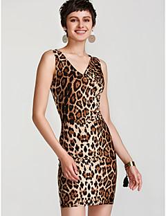 זול שמלות נשים-צווארון V מידי בסיסי, נמר - שמלה צינור סקיני בגדי ריקוד נשים
