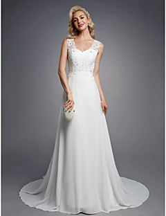 cheap Wedding Dresses-Princess V Neck Floor Length Chiffon / Lace Made-To-Measure Wedding Dresses with Beading / Appliques / Button by LAN TING BRIDE® / Beautiful Back