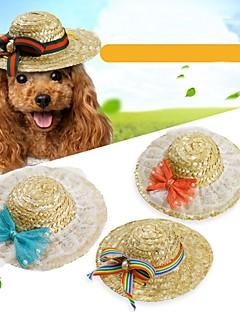 billiga Hundkläder-Husdjur Hattar, kepsar och snusnäsdukar / Snusnäsdukar och mössor Hundkläder Brittisk / Rosett / Blommig / Botanisk Grön / Blå / Rosa