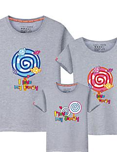 billige Sett med familieklær-Barn Familie Look Ensfarget / Fargeblokk / Bokstaver Kortermet T-skjorte