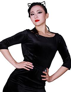 baratos Roupas de Dança Latina-Dança Latina Malha Mulheres Treino Veludo Combinação Manga 3/4 Natural Collant / Pijama Macacão