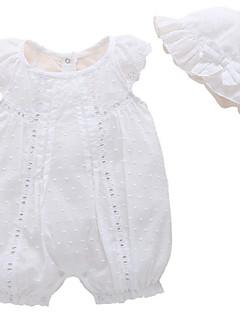 billige Med en nydelig buksedress-Baby Jente Grunnleggende Ensfarget Ermeløs Polyester Endelt Hvit