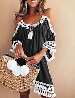 tanie AW 18 Trends-Damskie Wyjściowe / Plaża Luźna Koszula Sukienka Przed kolano / Frędzel