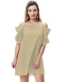 billiga Mammakläder-Dam Skjorta Klänning - Enfärgad Mini / Ovanför knäet