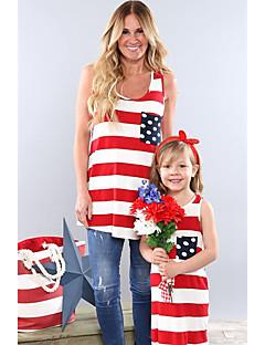 billige Sett med familieklær-Baby Mamma og meg Stripet / Fargeblokk Ermeløs Bluse