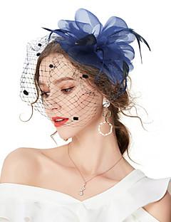 billige Trendy hårsmykker-Dame Vintage / Elegant Hårklemme / fascinator - Blomst / Netting, Ensfarget