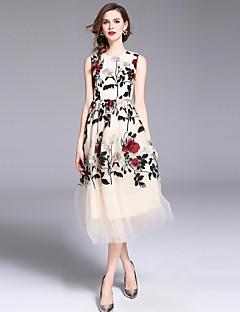 Χαμηλού Κόστους Dresses For Date-Γυναικεία Κομψό στυλ street / Εκλεπτυσμένο Γραμμή Α / Swing Φόρεμα - Φλοράλ, Δίχτυ / Κεντητό Μακρύ