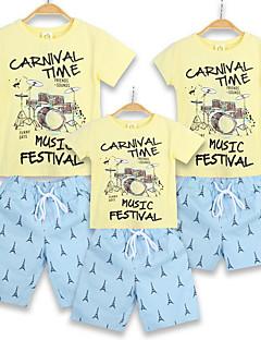 billige Sett med familieklær-Familie Look Fargeblokk Kortermet T-skjorte