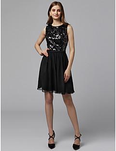 billiga Den lilla svarta-A-linje Prydd med juveler Kort / mini Chiffong / Paljetter Cocktailfest / Bal Klänning med Paljett av TS Couture®