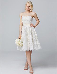 cheap Going Neutral-A-Line Sweetheart Knee Length Lace Over Satin Bridesmaid Dress with Buttons Lace by LAN TING Express
