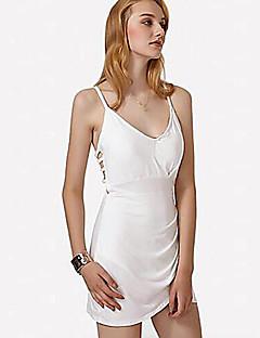 baratos Vestidos de Festa-Mulheres Tubinho Vestido - Frente Única, Sólido Acima do Joelho / Assimétrico