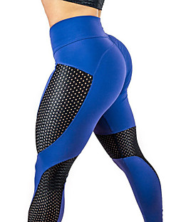 billiga Träning-, jogging- och yogakläder-Dam Lappverk / Ruched Butt Lifting Yoga byxor - Svart, Blå, Fuschia sporter Sexig, Mode Mesh Cykling Tights / Leggings Löpning, Fitness, Gym Sportkläder Snabb tork, Andningsfunktion, Butt Lift Hög