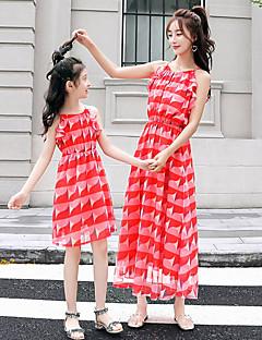 billige Sett med familieklær-Mamma og meg Fargeblokk Ermeløs Kjole