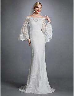 billiga Brudklänningar-Åtsmitande Bateau Neck Svepsläp Spets Bröllopsklänningar tillverkade med Applikationsbroderi / Spets av LAN TING BRIDE® / Illusion