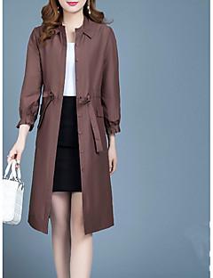 billige Kvinder Overtøj-Flettet, Dame Ensfarvet Trenchcoat