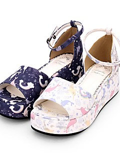Χαμηλού Κόστους Μόδα Λολίτα-Παπούτσια Γλυκιά Λολίτα Princess Lolita Τακούνι Σφήνα Παπούτσια Μοτίβο 5 cm CM Λευκό / Βυσσινί Για PU