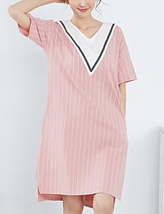 billige Moteundertøy-Dame Dyp V Sateng og silke Pyjamas - Stripet
