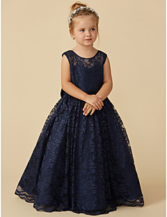 cheap Kids Attire-Ball Gown Floor Length Flower Girl Dress - Lace Sleeveless Jewel Neck with Bow(s) / Sash / Ribbon by LAN TING BRIDE®