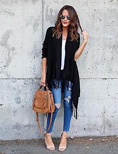 tanie Swetry damskie-Damskie Codzienny Moda miejska Frędzel Solidne kolory Długi rękaw Luźna Długie Sweter rozpinany, Kołnierz stawiany Jesień Bawełna Czarny / Khaki M / L / XL