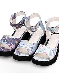Χαμηλού Κόστους Μόδα Λολίτα-Παπούτσια Γλυκιά Λολίτα Princess Lolita Τακούνι Σφήνα Παπούτσια Μοτίβο 5 cm CM Λευκό / Βυσσινί / Μπλε Για PU