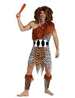billige Voksenkostymer-Primitiv Kostume Herre Videregående skole Halloween Halloween Karneval Maskerade Festival / høytid Drakter Brun Ensfarget Polkadotter Halloween
