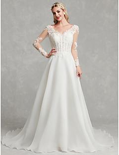 billiga Brudklänningar-A-linje V-hals Kapellsläp Spets / Tyll Bröllopsklänningar tillverkade med Spets av LAN TING BRIDE®