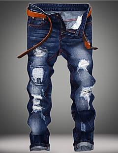 billige Herrebukser og -shorts-Herre Grunnleggende Store størrelser Bomull Tynn Jeans Bukser Ensfarget