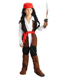 billige Barnekostymer-Pirat Kostume Gutt Barn Halloween Halloween Karneval Barnas Dag Festival / høytid Polyester Drakter Brun Ensfarget Halloween