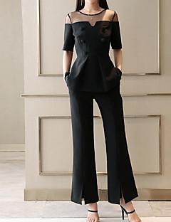 Χαμηλού Κόστους Γυναικεία Παντελόνια & Φούστες-Γυναικεία Μεγάλα Μεγέθη Δουλειά Κομψό στυλ street / Εκλεπτυσμένο Μπλούζα / Σετ - Μονόχρωμο, Δίχτυ / Πλατύ Πόδι Παντελόνι / Καλοκαίρι