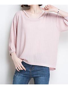 baratos Suéteres de Mulher-Mulheres Militar Manga Princesa Pulôver - Sólido / Geométrica, Franjas
