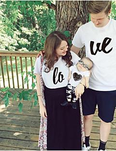 billige Sett med familieklær-Voksen Familie Look Ensfarget / Bokstaver Kortermet T-skjorte