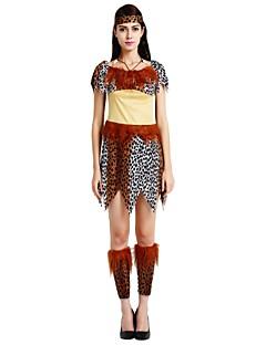 billige Halloweenkostymer-Primitiv Kostume Dame Halloween Karneval Maskerade Festival / høytid Halloween-kostymer Drakter Brun Ensfarget Polkadotter Halloween Halloween