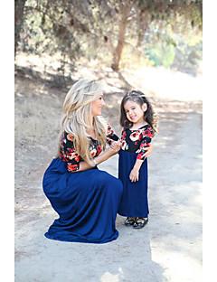 billige Sett med familieklær-Mamma og meg Grunnleggende Blomstret Kortermet Kjole
