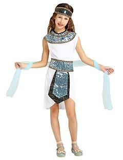 billige Halloweenkostymer-Farao Kostume Jente Tenåring Halloween Halloween Karneval Barnas Dag Festival / høytid Drakter Hvit Ensfarget Halloween