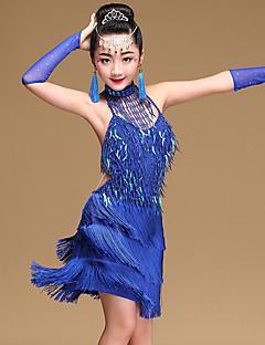 tanie Dziecięca odzież do tańca-Taniec latynoamerykański Suknie Dla dziewczynek Szkolenie / Wydajność Modalny Frędzel / Cekiny Bez rękawów Naturalny Ubierać / Rękawice / Dodatki na szyję