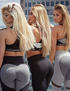 billiga Träning-, jogging- och yogakläder-Dam Lappverk Yoga byxor - Mörkgrå, Ljusgrå sporter Hjärta Elastan Hög midja Cykling Tights / Leggings Löpning, Fitness, Gym Sportkläder Andningsfunktion, Fuktabsorberande, Snabb tork Elastisk