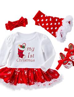 זול סט בגדי תינוק-בנות פעיל / סגנון רחוב כותנה מכנסיים - דפוס רשת לבן / חגים / ליציאה