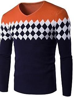 baratos Suéteres & Cardigans Masculinos-Homens Básico Pulôver - Geométrica / Estampa Colorida