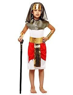 billige Halloweenkostymer-Farao Kostume Gutt Tenåring Halloween Halloween Karneval Barnas Dag Festival / høytid Drakter Hvit Ensfarget Halloween
