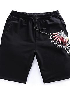billige Herrebukser-Herre Bomuld Løstsiddende Chinos / Shorts Bukser Geometrisk