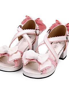 Χαμηλού Κόστους Μόδα Λολίτα-Παπούτσια Γλυκιά Λολίτα Princess Lolita Κοντόχοντρο Τακούνι Παπούτσια Συνδυασμός Χρωμάτων 4.5 cm CM Μαύρο / Ροζ Για PU