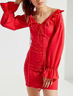 billige Minikjoler-Dame I-byen-tøj Skede Kjole Mini V-hals
