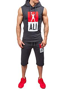 billiga Träning-, jogging- och yogakläder-Herr Gymlinne / Yoga Suit - Ljusgrå, Armégrön, Mörk Marin sporter Shorts / Väst Löpning, Fitness, Träna Ärmlös Sportkläder Svettavvisande Elastisk