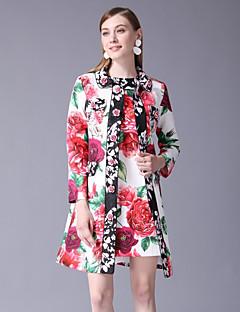 billige AW 18 Trends-Dame Grunnleggende / Chinoiserie Sett Kjoler Blomstret / Mini / Sommer / Arbeid / Blomstermønstre