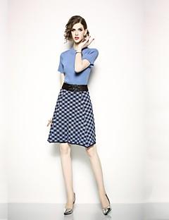 お買い得  レディースツーピースセット-女性用 ベーシック セット チェック スカート