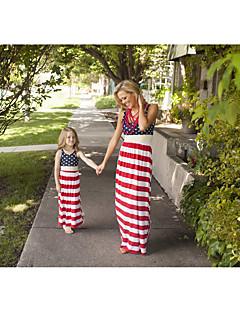 billige Sett med familieklær-Voksen / Barn / Baby Mamma og meg BLå & Hvit Fargeblokk Ermeløs Kjeledress og jumpsuit